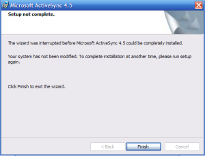 ActiveSync error installation
